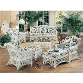 Superbe Victorian Natural Wicker Furniture Set 6 Pc