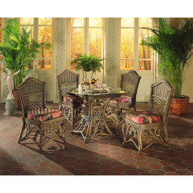 (5) Piece Victorian Wicker Dining Set