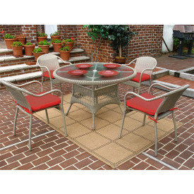 48 Round Resin Dining Set with 4-Cushioned Bistro Chairs
