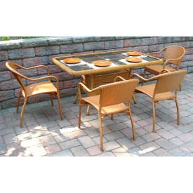 60x36 Rectangular Dining Set w/4-Bistro Chairs No Cushions