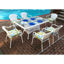 60x36 Rectangular Dining Set with 6-Cushioned Bistro Chairs