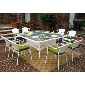 66 Square Resin Dining Set With 8-Cushioned Bistro Chairs