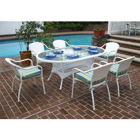 72 Oval Resin Dining Set with 6-Cushioned Bistro Chairs