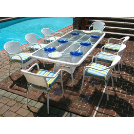96x42 Rectangular Resin Set With 8-Cushioned Bistro Chairs