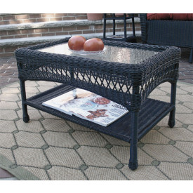Belaire Resin Wicker Cocktail or Coffee Table with Glass Top