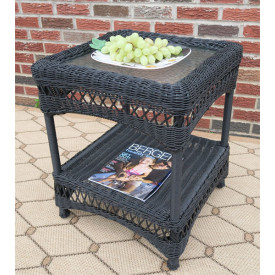 Belaire Resin Wicker End Table with Glass top
