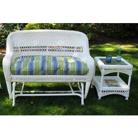 Belair Resin Wicker Glider Loveseat with Cushion