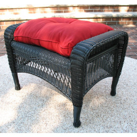 Bel Aire Resin Wicker Ottoman with Cushion