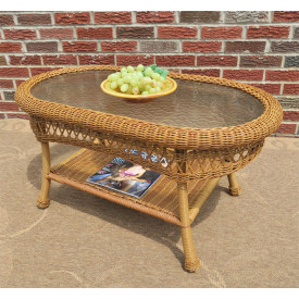 Belaire Resin Wicker Oval Cocktail or  Coffee Table with Glass Top