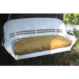Resin Wicker Porch Swing Loveseat with Cushion