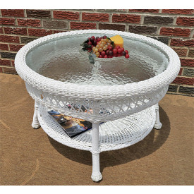 Belaire Round  Resin Wicker Cocktail or Coffee Table with Glass Top