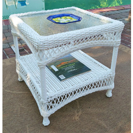 Barcelona  Resin Wicker End Table with Inset Glass Top