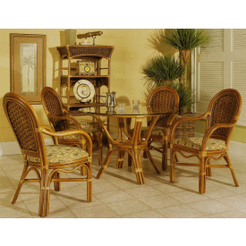 "42"" Portofino 5 Piece Arm Chair Dining Set with Cushions"