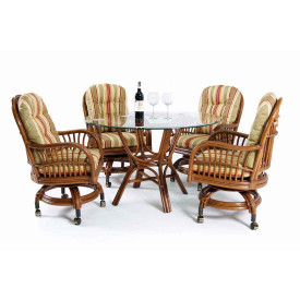 "Amarillo Rattan 48"" Rattan Dining Set with Casters"