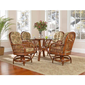 Rattan Dining Set with Swivel Chairs Porto Fino 48""
