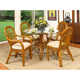 "Antigua 42"" Rattan Dining Set with 2-Arm and 2-Side Chairs"