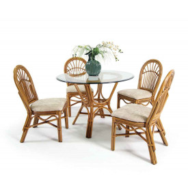 "Antigua Rattan 42"" Dining Set with 4 Side Chairs"
