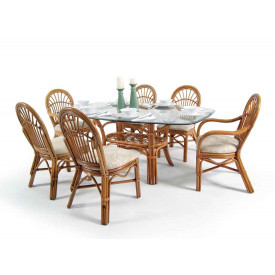 "Antigua Rattan  62"" x 42"" Oval Dining Set"