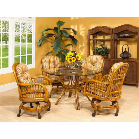 "Antigua 48"" Round Castored Dining Set with 4 Game Chairs"