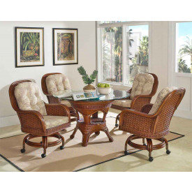 "Casa Blanca 48"" Castored Dining Set with 4 Game Chairs"
