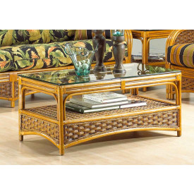"Portofino Rattan Coffee Table with "" Ogee"" Glass Top (Not Sold Alone)"