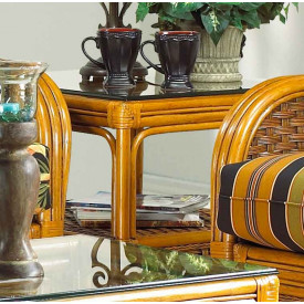 "Portofino Rattan End Table with ""Ogee"" Glass Top (Not Sold Alone)"