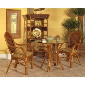 3 Piece Portofino Rattan Cafe Dining  Set with 2 Arm Chairs