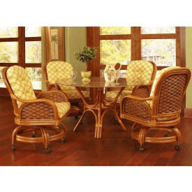 Rattan Dining Set with Casters Portofino 48""