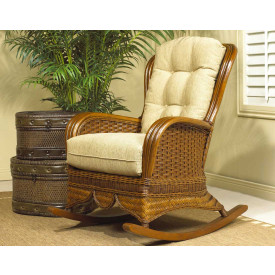 Casa Blanca Rattan High Back Rocking Chair with Cushions