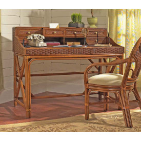 Regency Rattan Writing Desk with No Chair