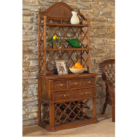 Regency Rattan Bakers Rack With Wine Rack
