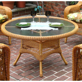 "42"" Round  X 24"" High Resin Wicker Conversation Table with umbrella hole"