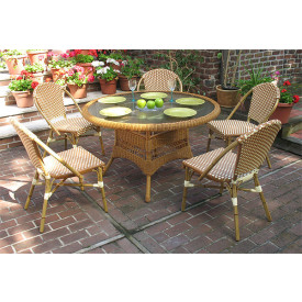 48 (6) Piece Round Cafe Dining Set with Umbrella Hole