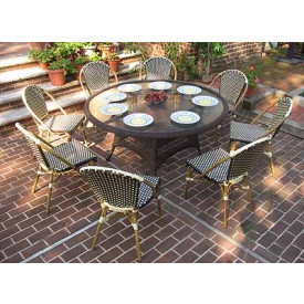 60 (9) Piece Round Cafe Dining Set with Umbrella Hole