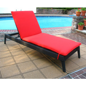 Caribbean Resin Wicker Chaise with Cushion (1)