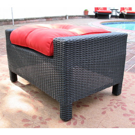 Caribbean Wicker Ottoman with Cushion