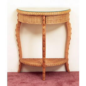 Charleston Wicker Foyer Table with Glass Top