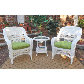 3piece belaire resin wicker chat set with round table and cushions - Resin Wicker Patio Furniture