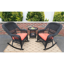 3-Piece Belaire Rocker Resin Wicker  Chat Set With Round Table and Cushions