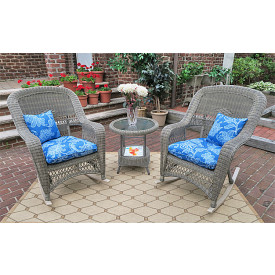 3 Piece Resin Wicker Chat Set, (2) Rockers (1) Round Table