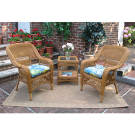 3 Piece Bel Aire Resin Wicker Chat Set With Square Table