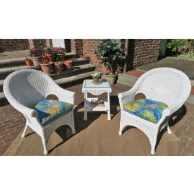 3 Piece Natural Wicker Diamond Chat Set of 3