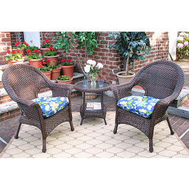 3-Piece Veranda High Back Resin Chat Set with Cushions