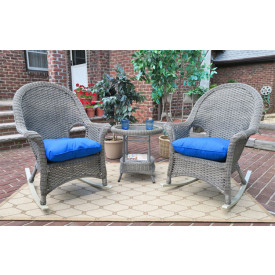 3-Piece Veranda Resin Wicker  Chat Set with Rockers & Cushions