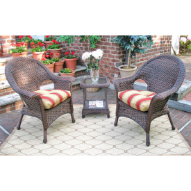 3-Piece Veranda High Back Chat Set (Square Table) with Cushions
