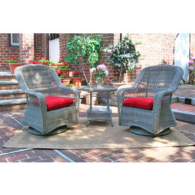 Bel Aire Resin Wicker Swivel Glider Chat Set (Round Table)