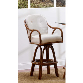 Classic Comfort Rattan Swivel Bar Stool with  Seat & Back Cushions (Min 2) Price Each