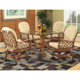 "Grand Isle Rattan Dining Set 42"" Square Round Glass"