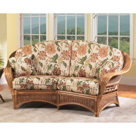Mountain View Natural Rattan Crescent Loveseat
