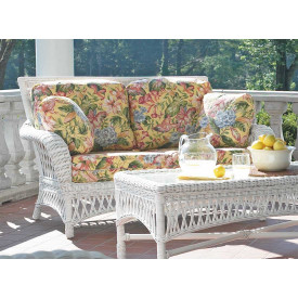 Old Nassau Rattan Framed Natural Wicker Loveseat, Traditional Back